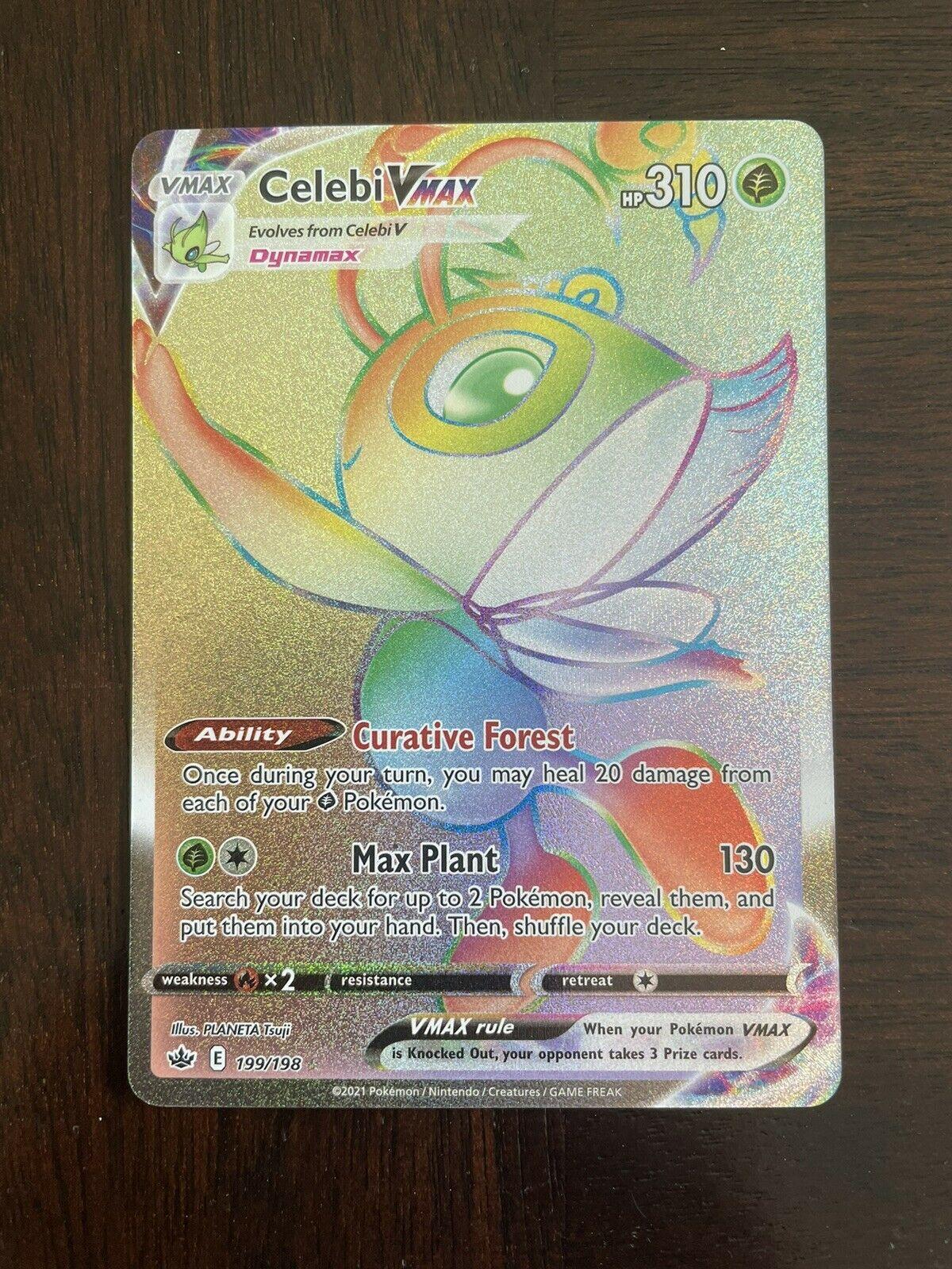 Celebi VMAX Rainbow Secret Rare 199/198 - Pokemon Chilling Reign - Mint