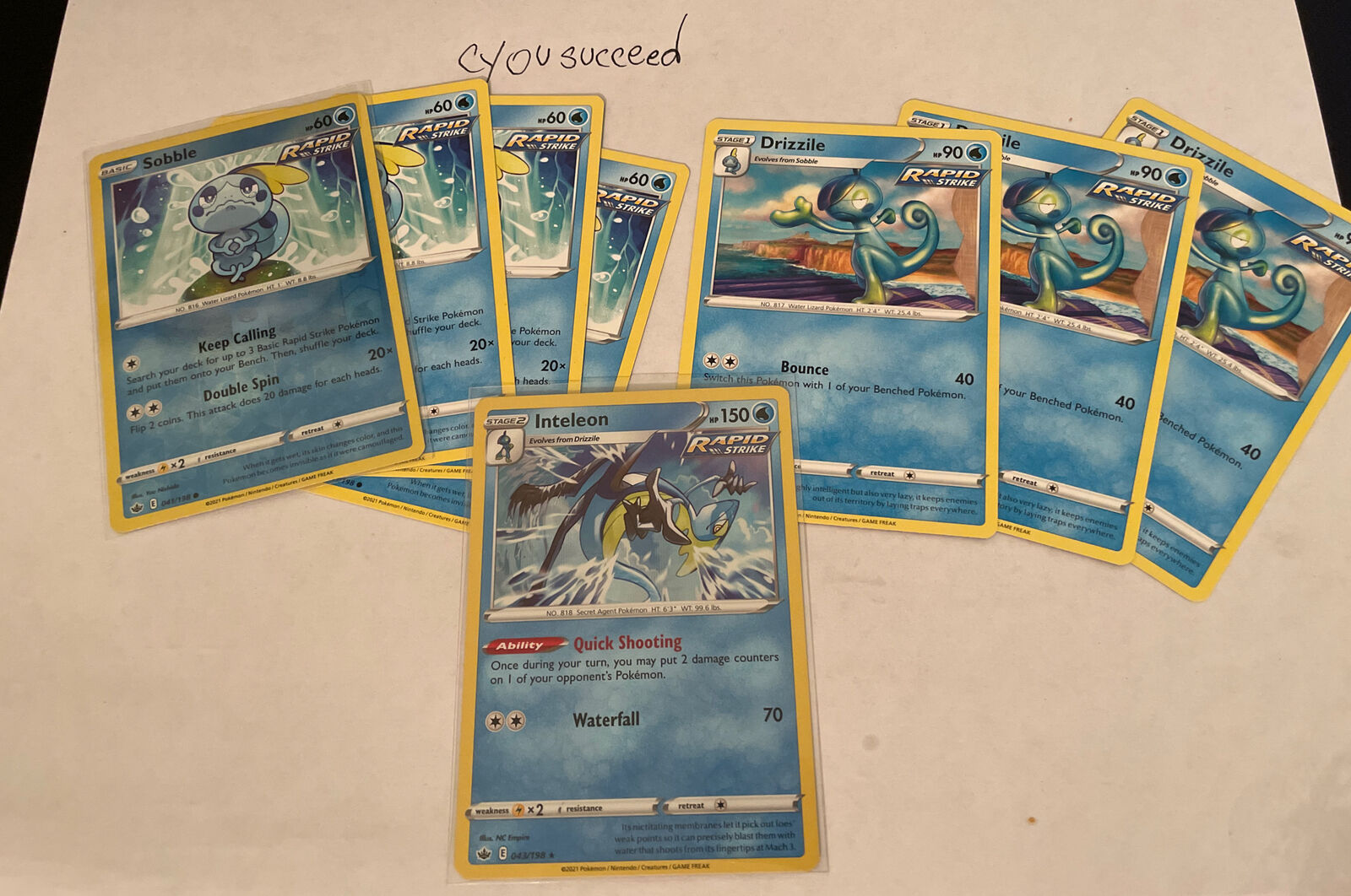 Inteleon 043/198 Holo Rare Chilling Reign Pokemon Card NM/M With Play Set sobble