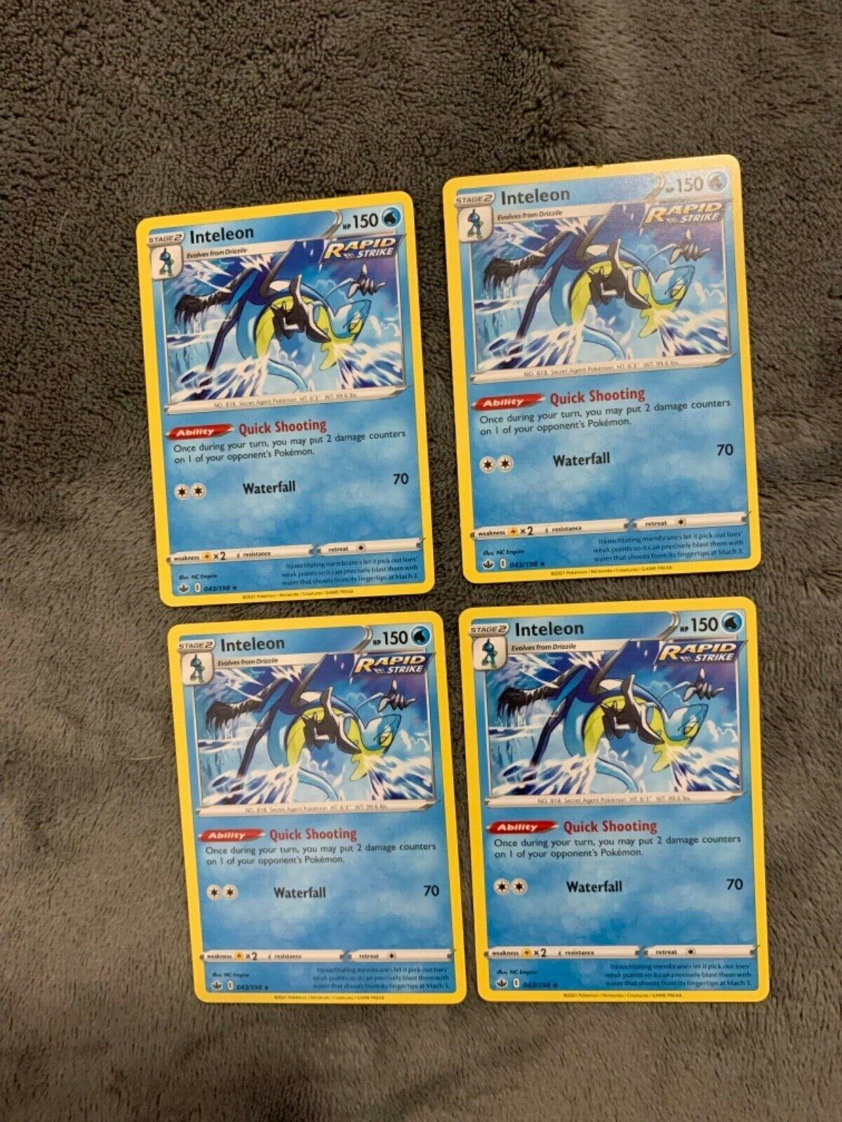 4x Pokemon SWSH CHILLING REIGN INTELEON 043/198 RARE NON HOLO   Fast Shipping!