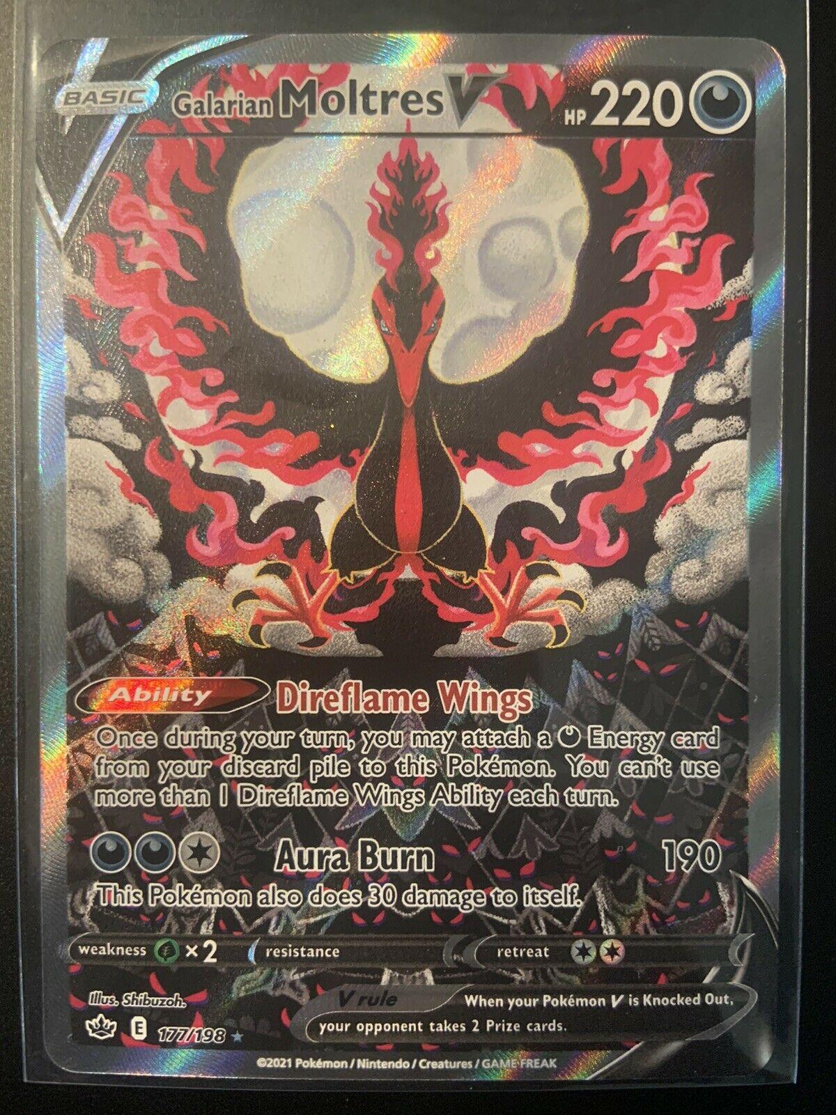 Galarian Moltres V 177/198 Full Alternate Art Pokemon Chilling Reign Rare 🔥🔥🔥