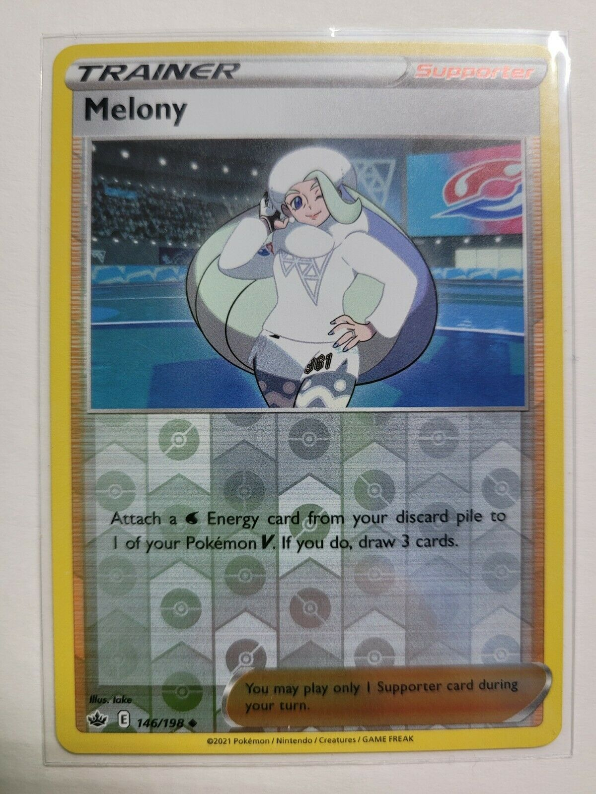 POKEMON TRAINER MELONY REVERSE HOLO 146/198-CHILLING REIGN