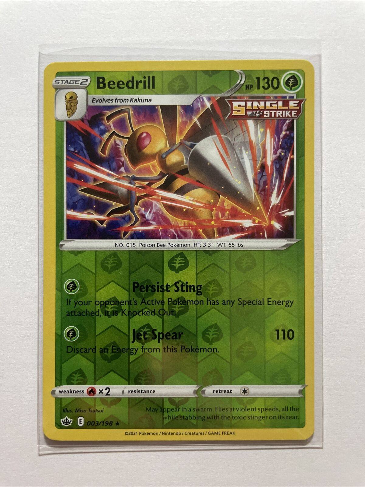 Beedrill 003/198 Reverse Holo Chilling Reign Pokemon Card - NM/M