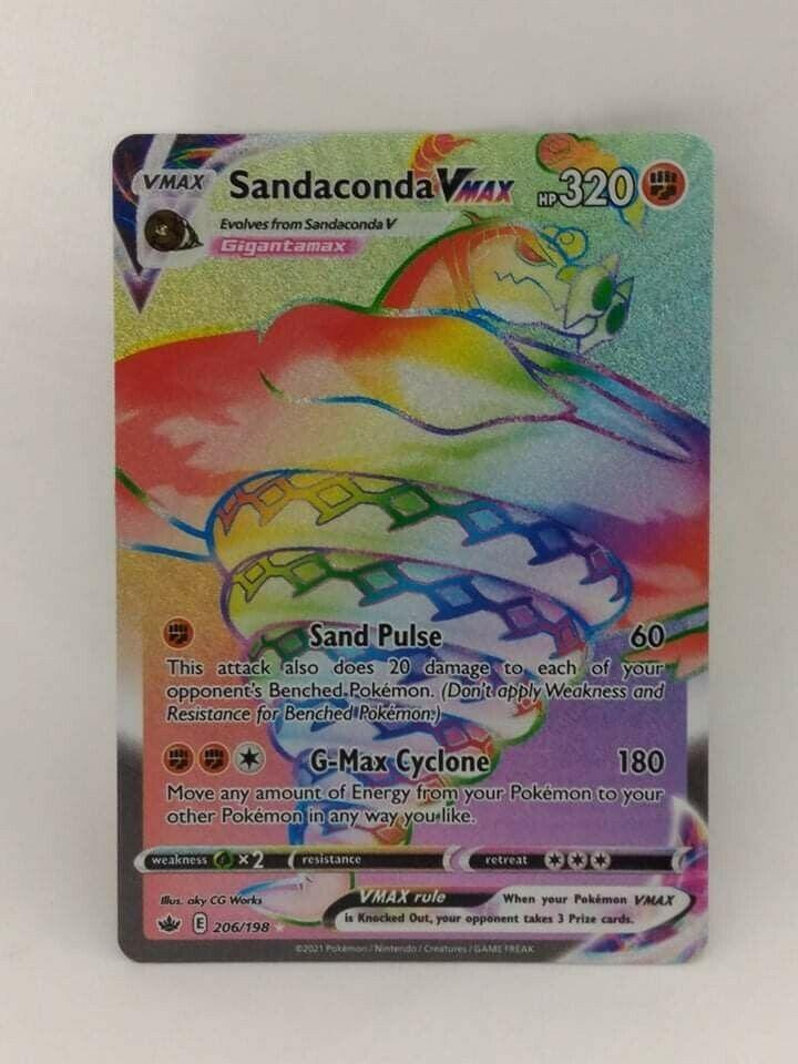Rare Rainbow Sandaconda Vmax Pokemon sword and shield chilling reign 206/198
