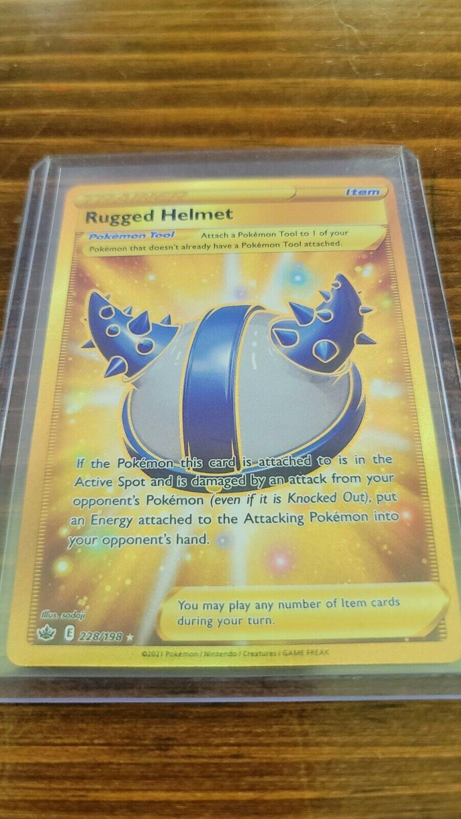 Pokemon Rugged Helmet 228/198 Gold Secret Rare Chilling Reign NM/M Fresh Pull