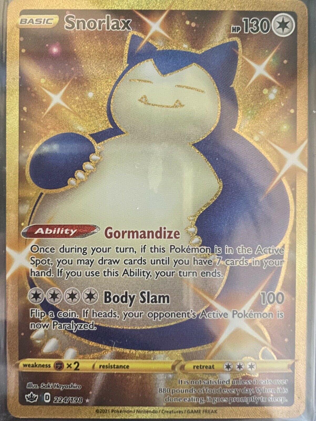Pokemon 224/198 Snorlax Chilling Reign Secret Gold Rare
