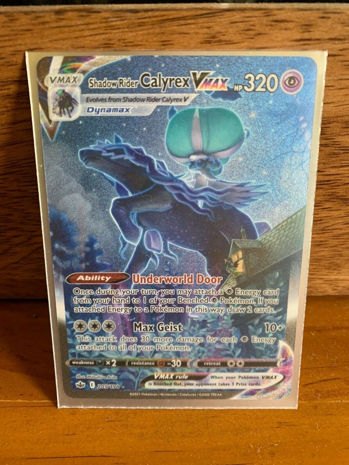 Alternate Full Art Shadow Rider Calyrex VMAX Pokemon Chilling Reign Card 205/198