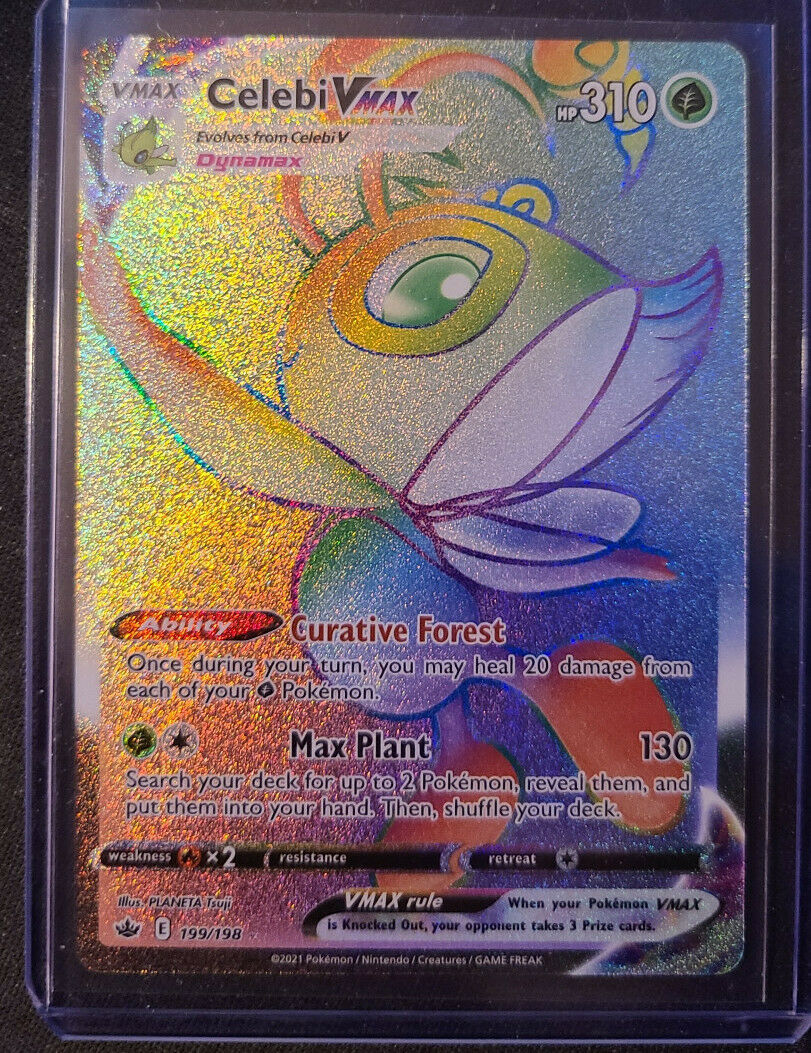 Pokémon TCG Rainbow Rare Celebi VMAX -Secret Rare -199/198 - Chilling Reign NM