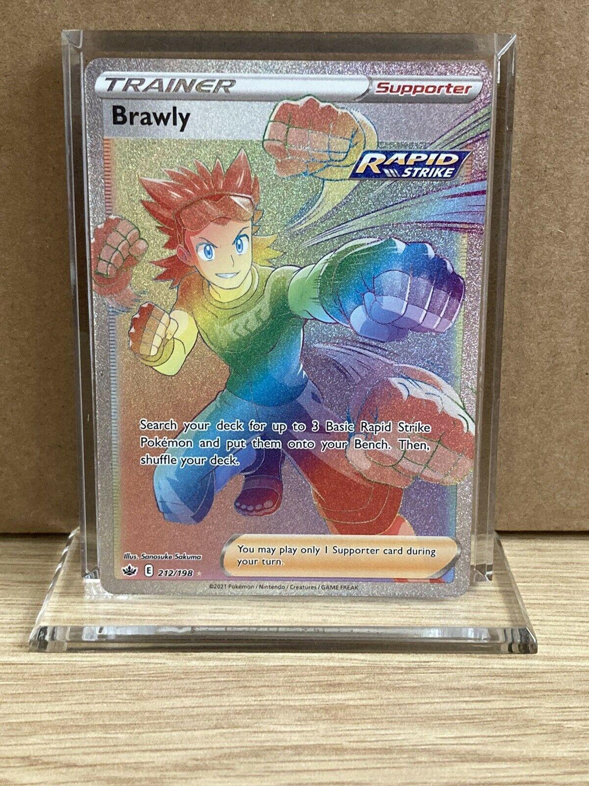 Pokémon Brawly Full Art Rainbow Rare 212/198 Chilling Reign