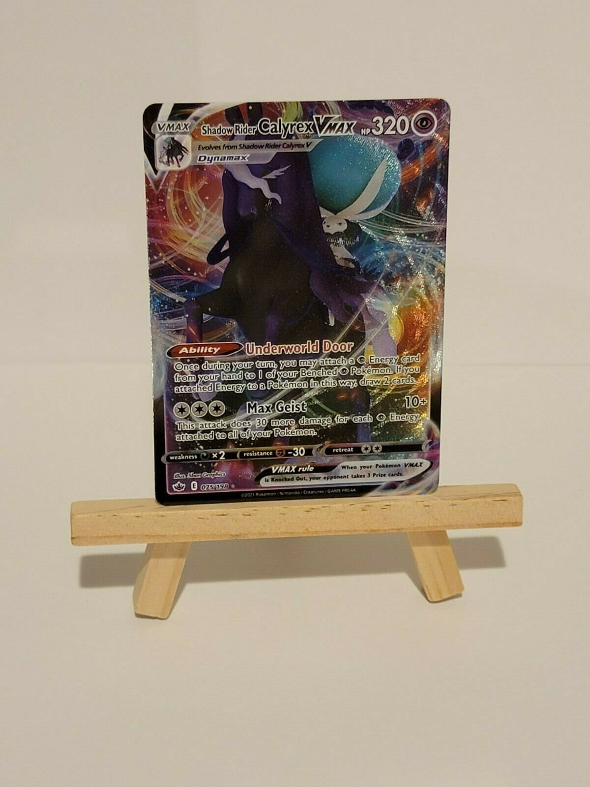 Shadow Rider Calyrex Vmax - Ultra Holo Rare - NM+/M - 075/198 - Chilling Reign