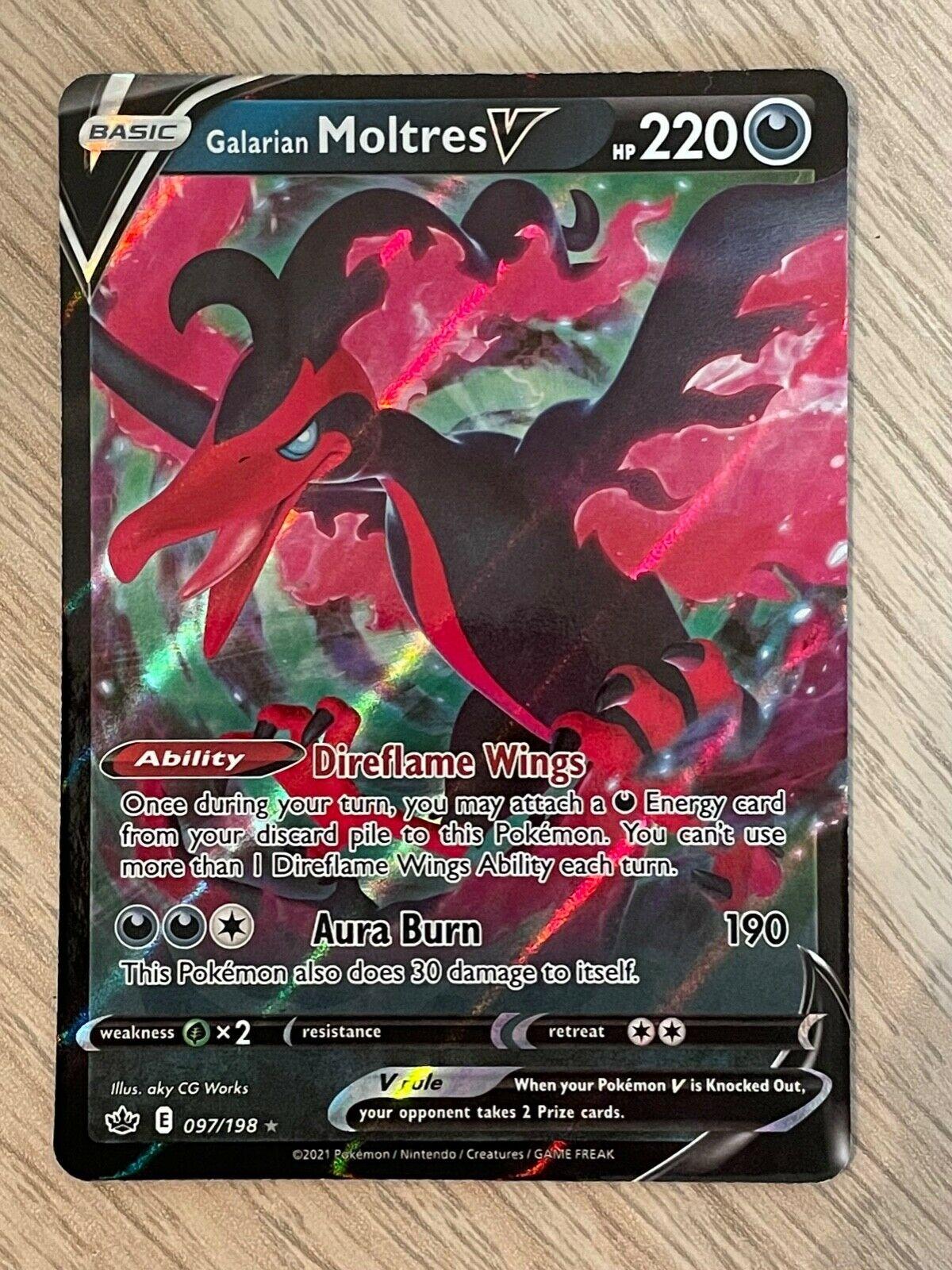 Galarian Moltres V 097/198 Chilling Reign Ultra Rare Pokemon Card - NM