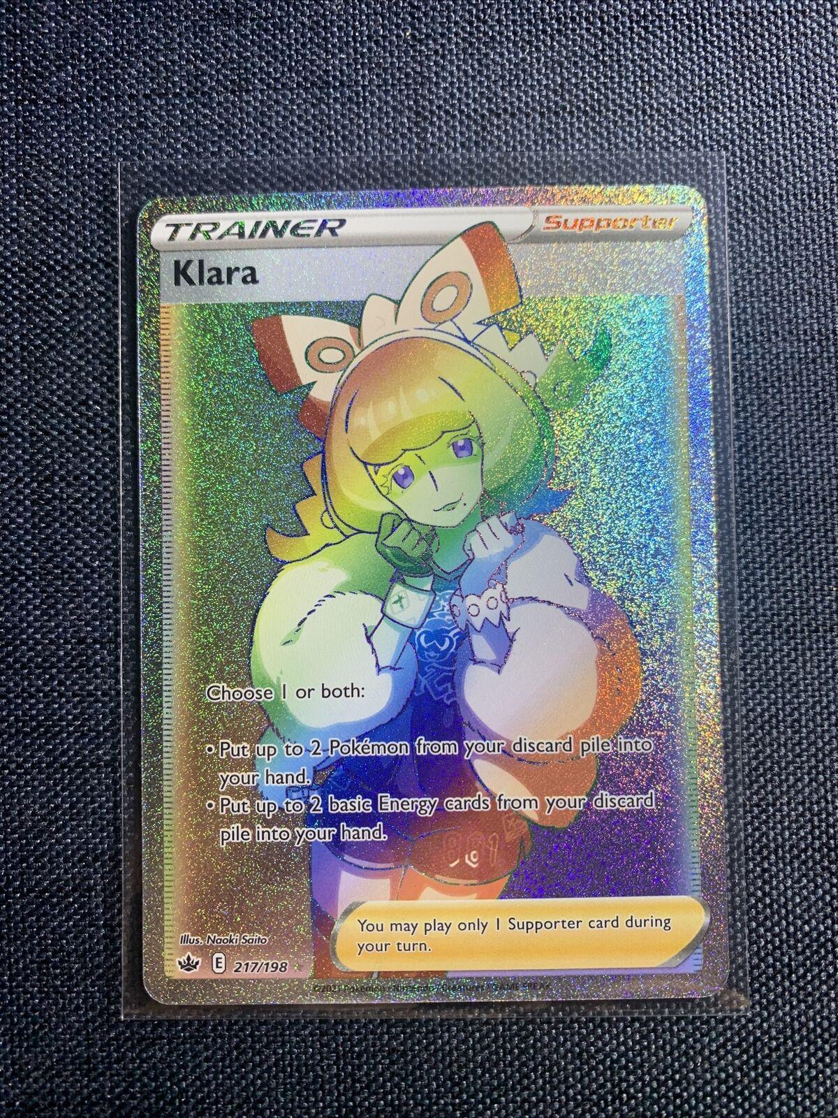 Klara - Rainbow Secret Rare - Full Art 217/198 - TCG Pokemon Chilling Reign - NM