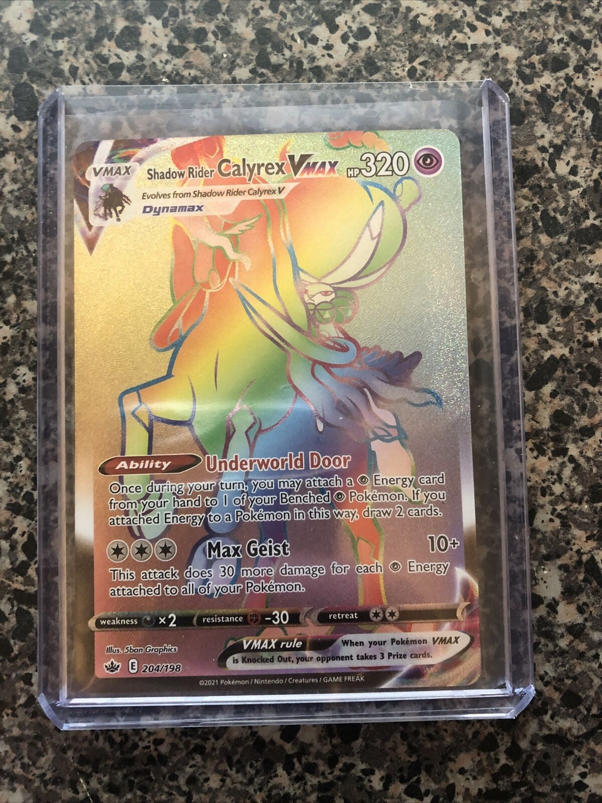Shadow Rider Calyrex VMAX Rainbow Rare 204/198 Chilling Reign (MINT)