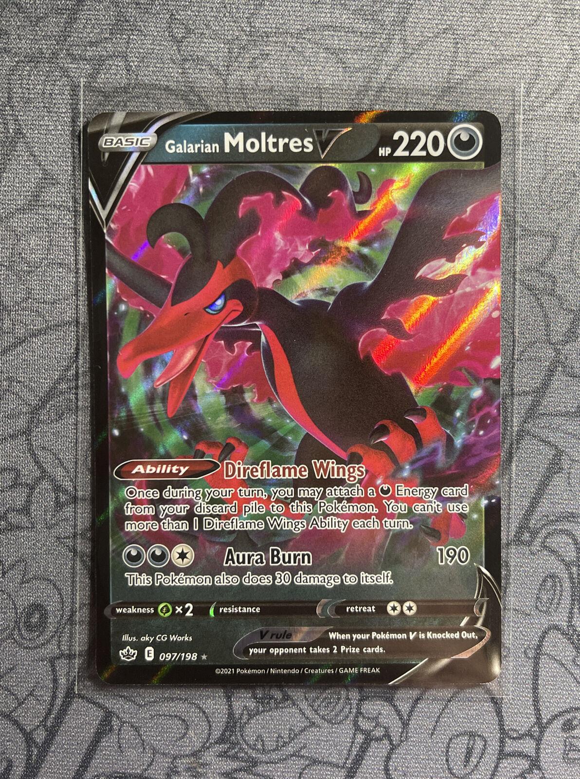 Galarian Moltres V 097/198 Ultra Rare Pokemon Chilling Reign NM