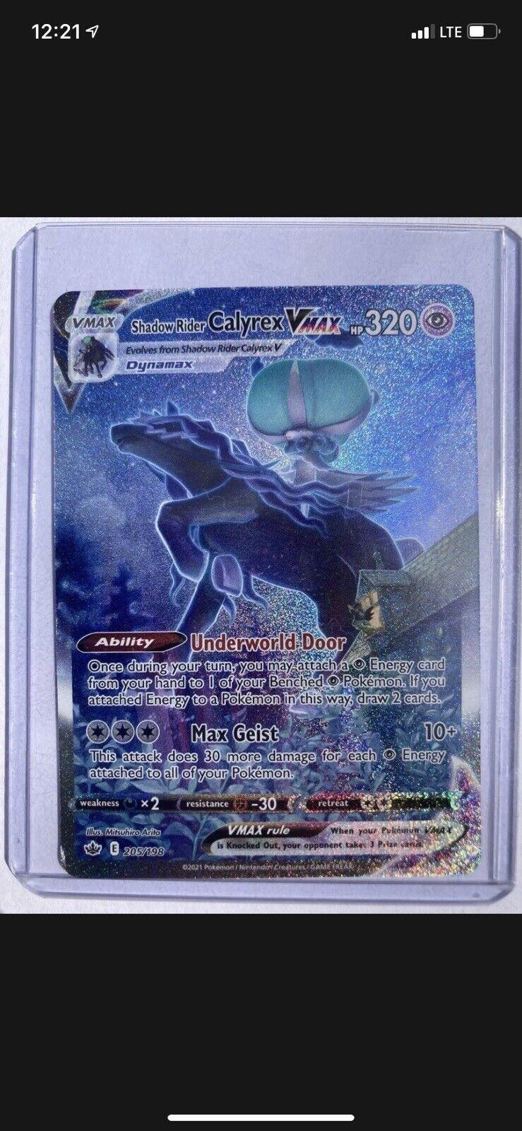 Pokemon Chilling Reign Shadow Rider Calyrex Vmax 205/198 Rare Pokémon Card