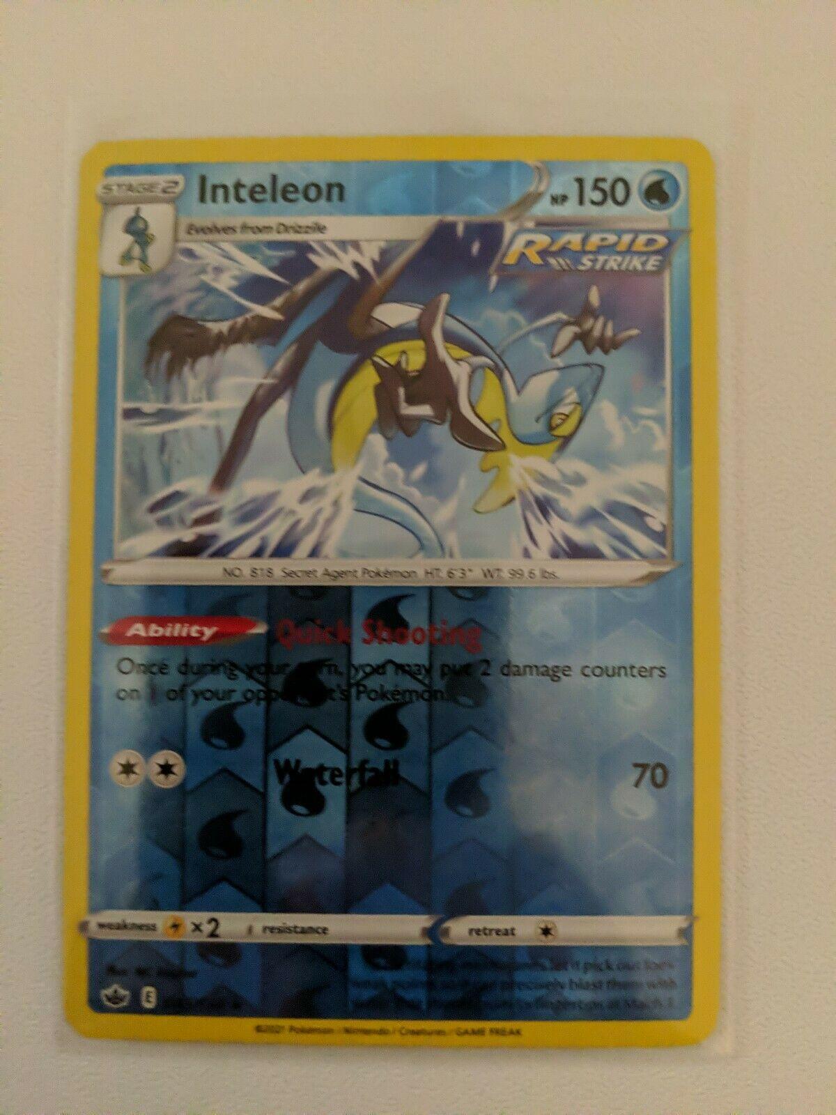Inteleon Reverse Holo 043/198 NM/M Chilling Reign Pokemon Card