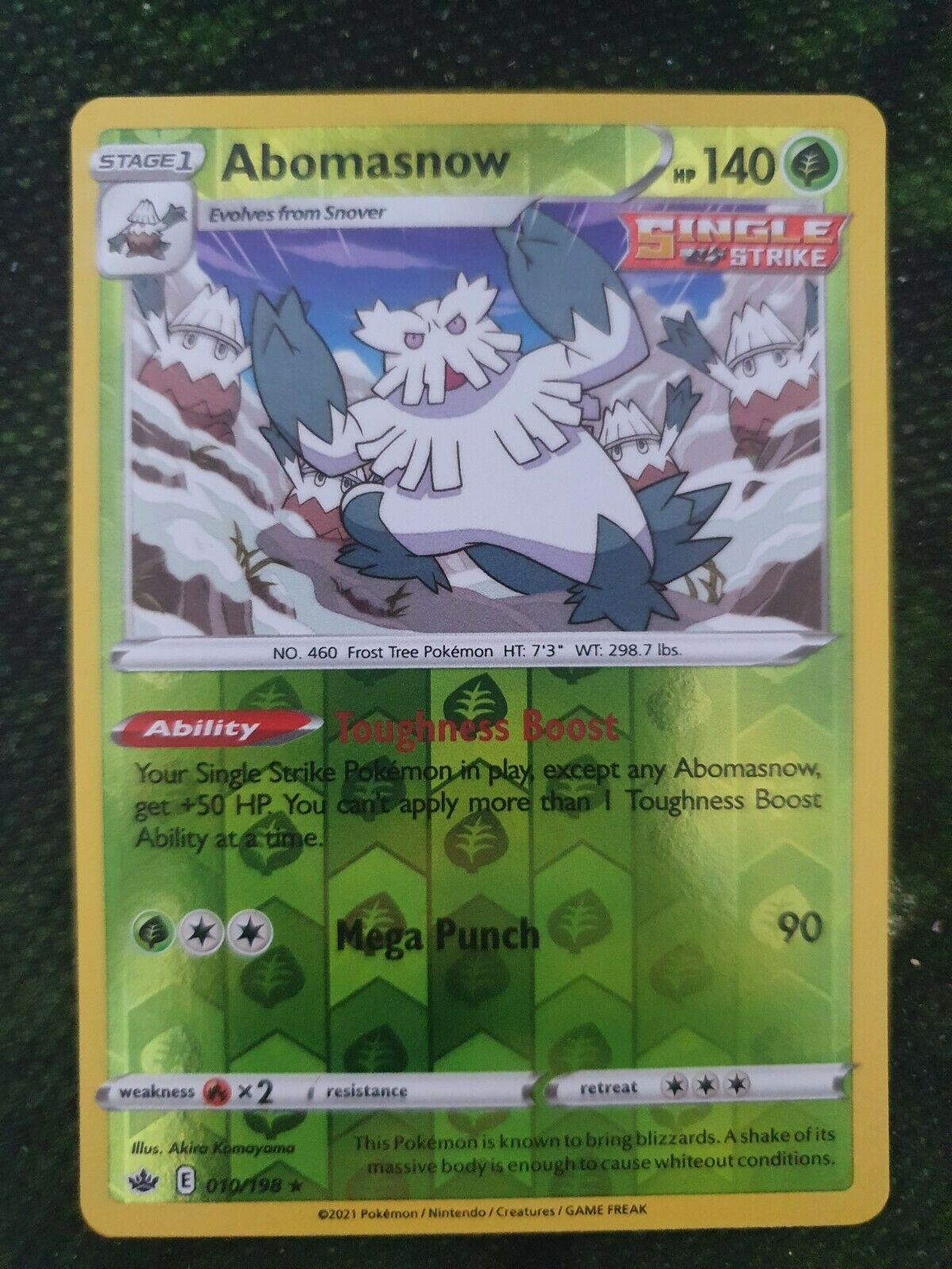 010/198 Abomasnow   Rare Reverse Holo Pokemon Card Sword & Shield Chilling Reign