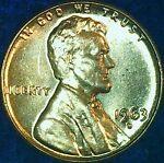 1963 D Lincoln Memorial Penny, Brilliant Uncirculated (BU) Condition