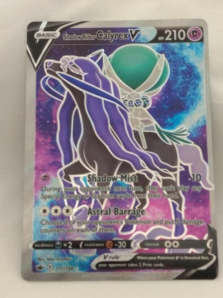 Rare Full Art Shadow Rider Calyrex V Pokemon Chilling Reign Card 171/198