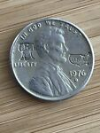 1976 D Silver Coated Lincoln penny engraved with Liberty Bell And USA map