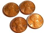 Four Lincoln Memorial Penny, 1974, 1975, 1976, 1977, Nice Details, FREE SHIPPING