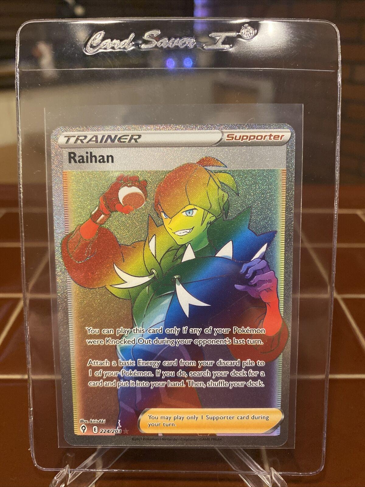Pokemon TCG Evolving Skies Rainbow Rare Raihan 224/203 Full Art Trainer MINT