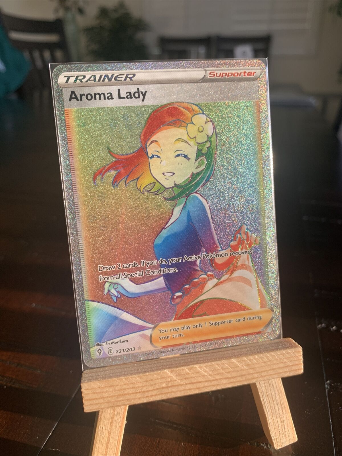 Aroma Lady 221/203 Evolving Skies Secret Rare Rainbow Pokemon Card