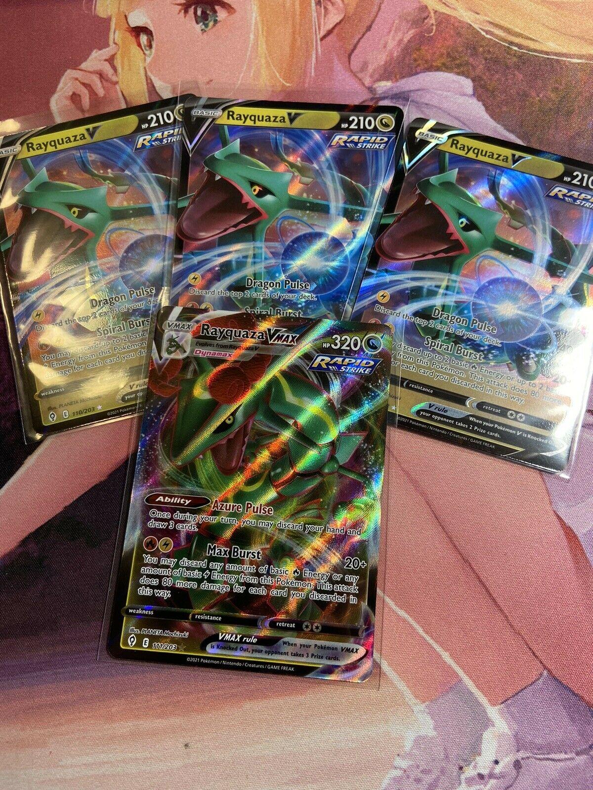 Pokemon Rayquaza V VMAX Evolving Skies 110/203 x3, 111/203 x1 Ultra Rare NM