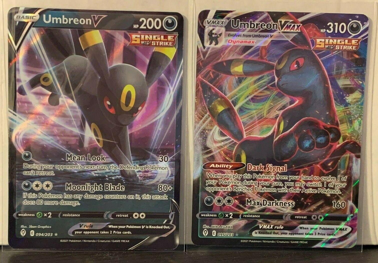 Pokemon Evolving Skies Umbreon V 094/203 & Umbreon VMAX Ultra Rare 095/203