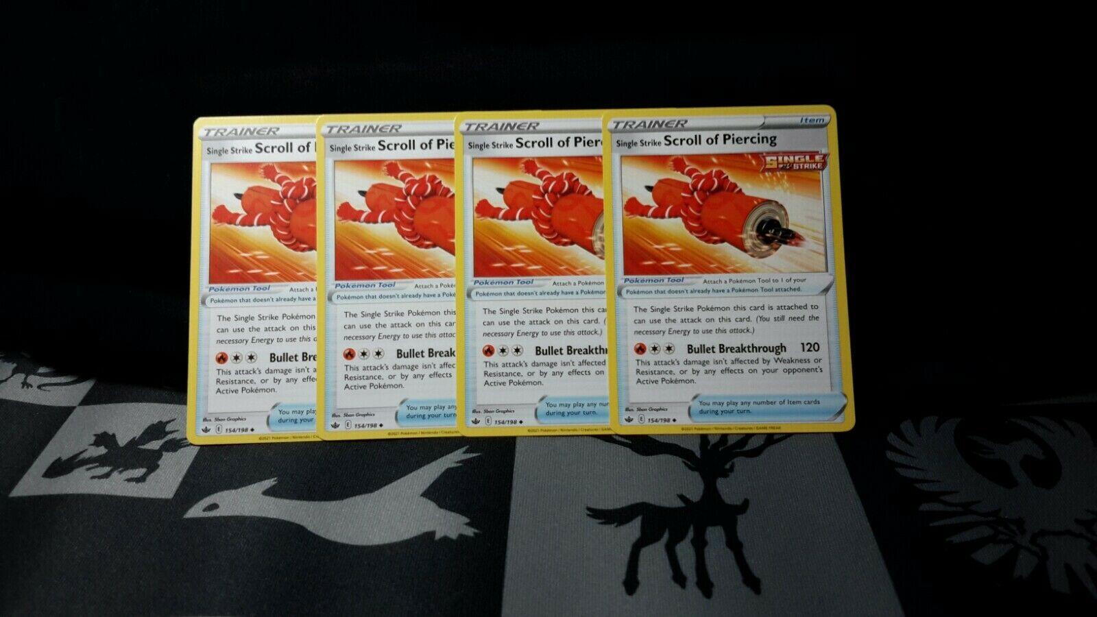 Pokemon 4x Single Strike Scroll of Piercing 154/198 Playset Chilling Reign NM/M