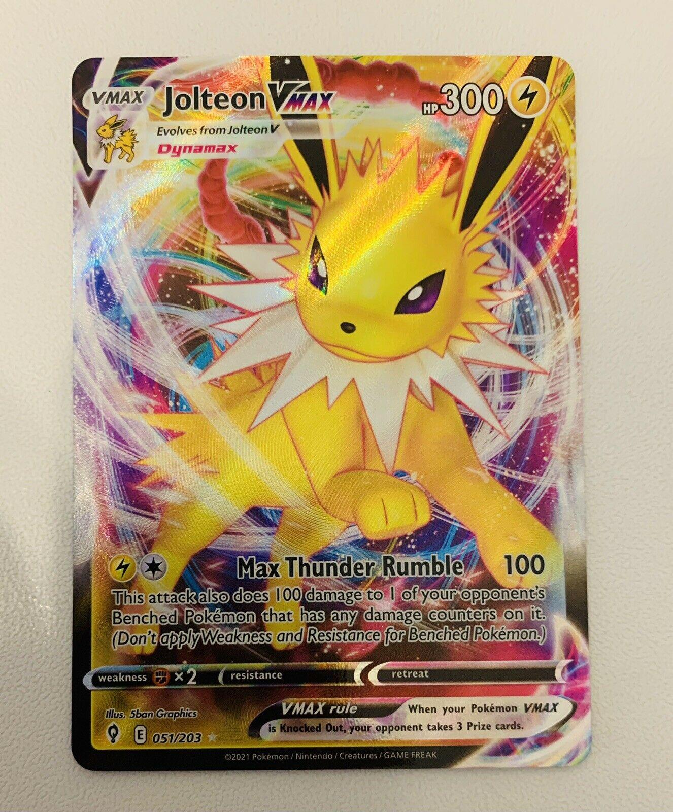 Jolteon Vmax 051/203 Evolving Skies NM Full Art Ultra Rare Pokemon Card