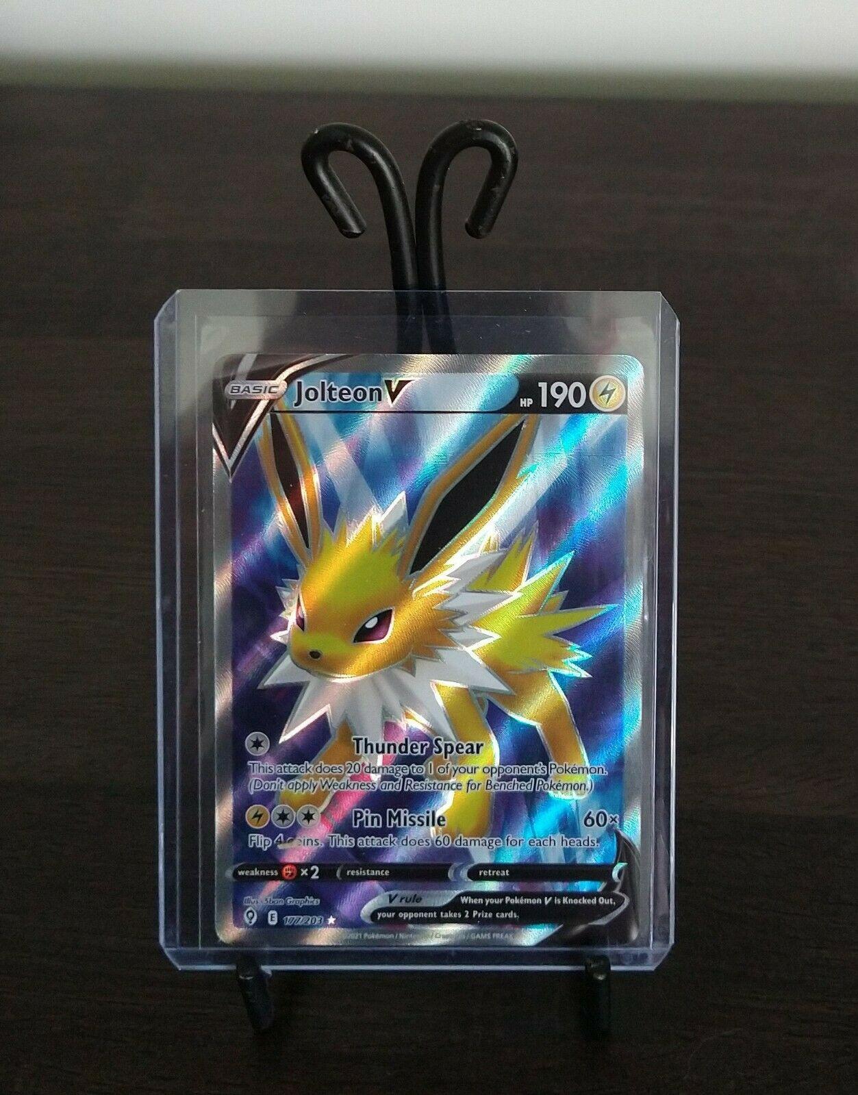 Jolteon V 177/203 Evolving Skies NM Full Art Ultra Rare Pokemon Card *fresh*