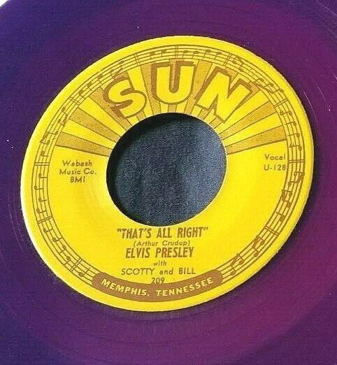 Elvis Presley: That's All Right/Blue Moon of Kentucky 45 Sun 209 RE purple vinyl