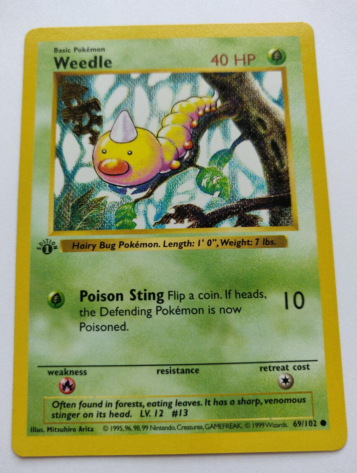 Pokemon TGC Excellent 69//102 Base Set Weedle