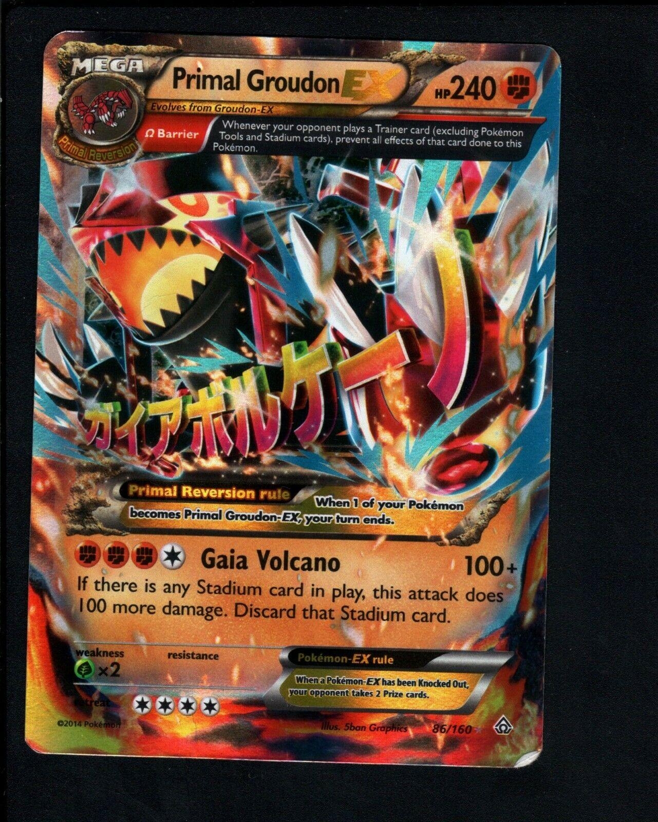 Primal Groudon Mega ex tarjeta 86//160 con Caja de Tarjeta Gratis 1 ex