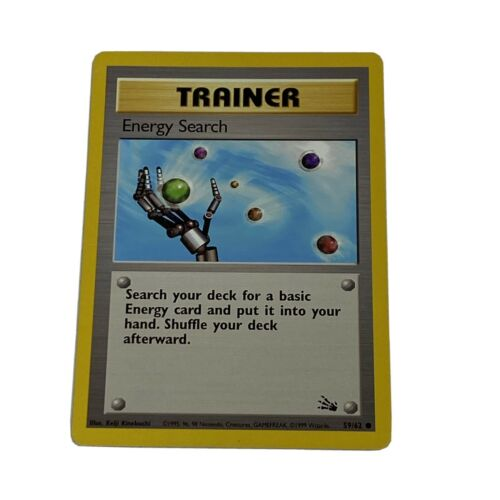 4X Pokemon Card Fossil 1st Edition Energy Search Trainer 4X Common 59//62 NM