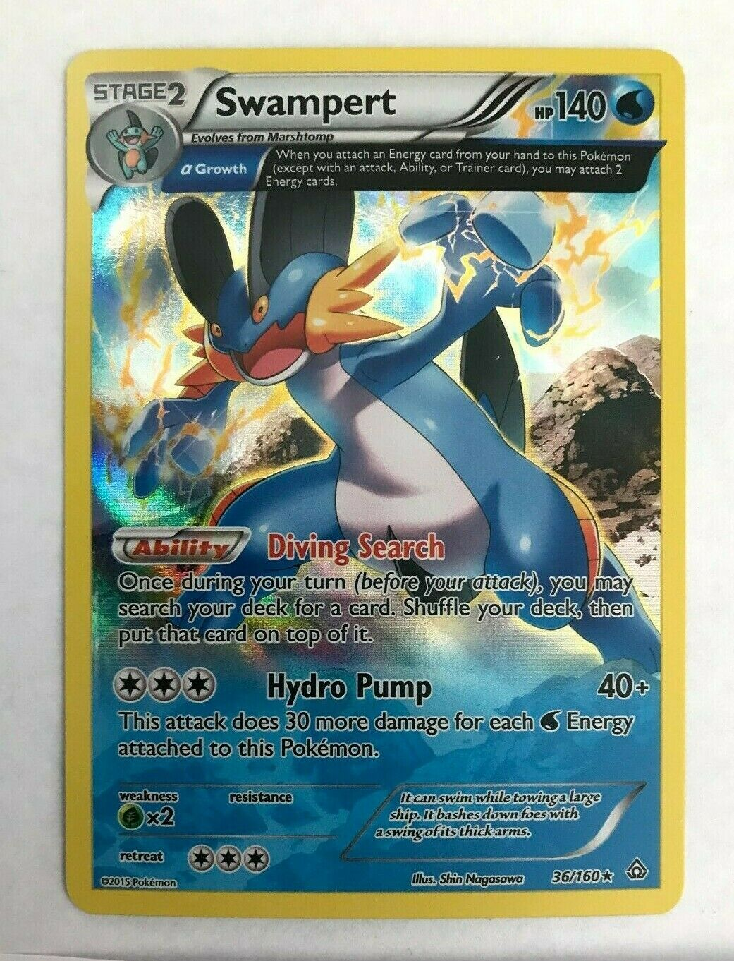Swampert 36//160 XY5 Protoschock Sumpex Holo DE NM Pokemon