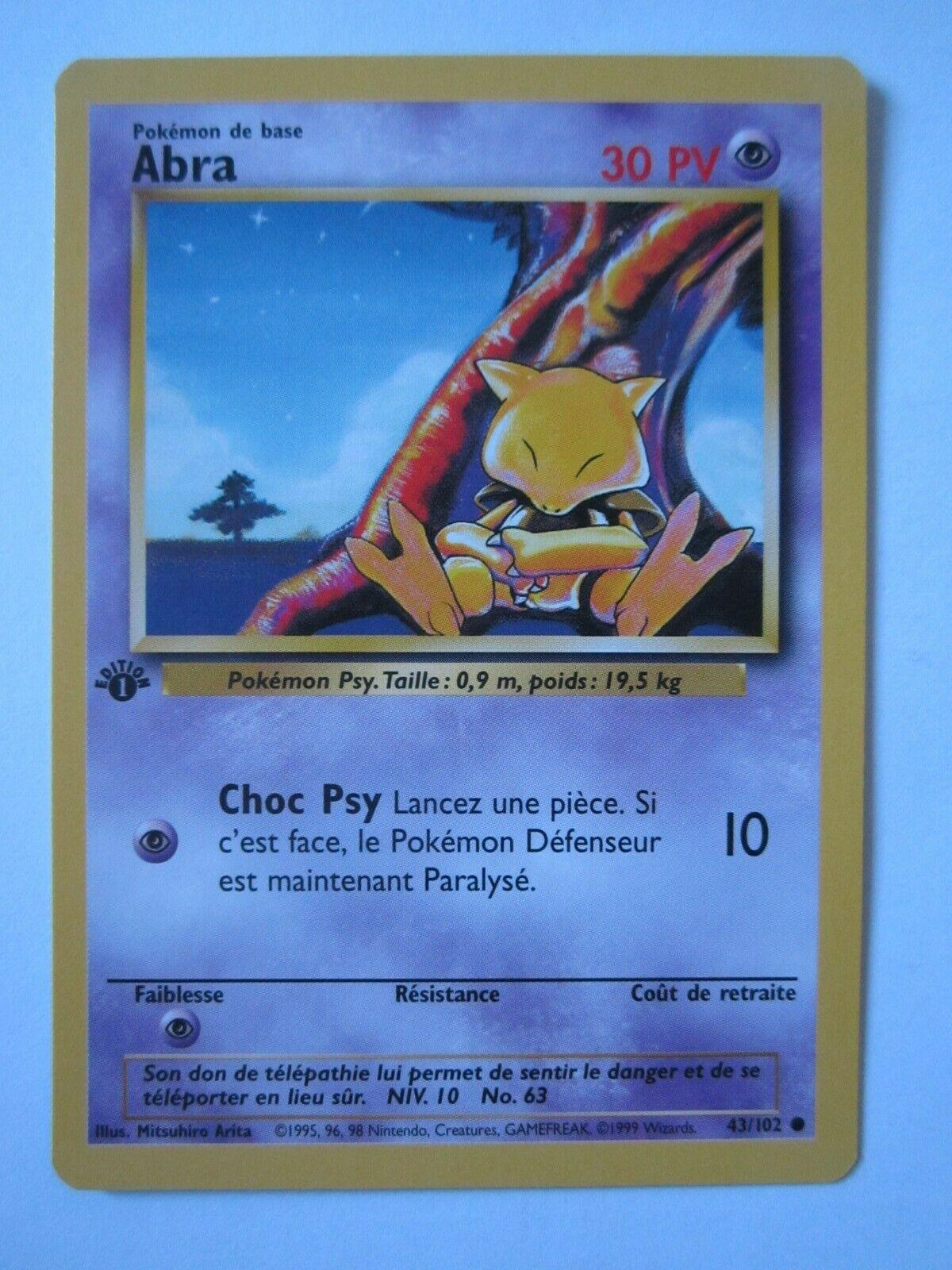 Carte Pokemon ABRA 43//102 Set de Base Wizard Edition 1 FR